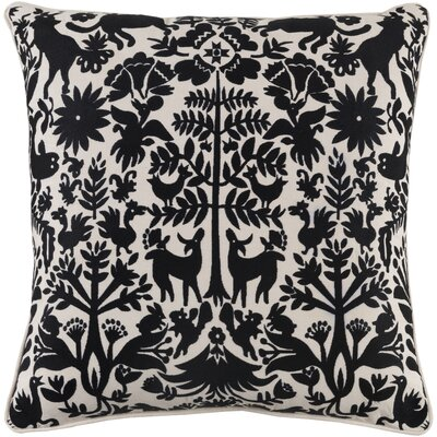 Taza Cotton Pillow Cover Size: 20 H x 20 W x 1 D, Color: Black