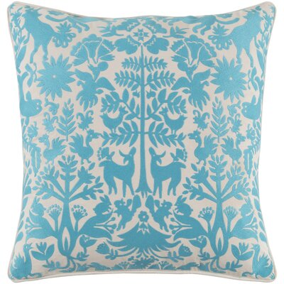 Taza Cotton Throw Pillow Size: 18 H x 18 W x 4 D, Color: Aqua