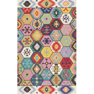 Toubqal Hand-Tufted Pink/Blue/Red Area Rug Rug Size: 76 x 96