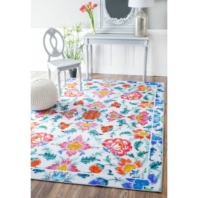 Azbane Tiles Blue/Pink Area Rug Rug Size: Rectangle 55 x 82