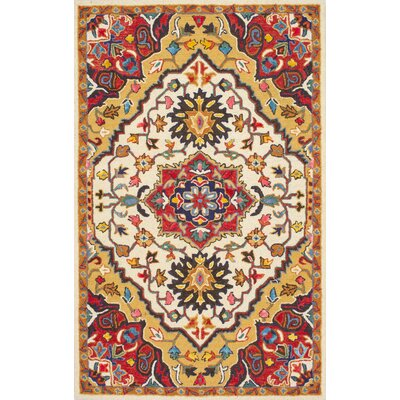 Sahab Hand-Tufted Red Area Rug Rug Size: 5 x 8