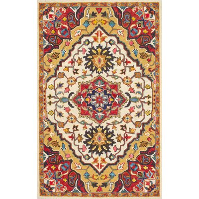 Sahab Hand-Tufted Red Area Rug Rug Size: 86 x 116