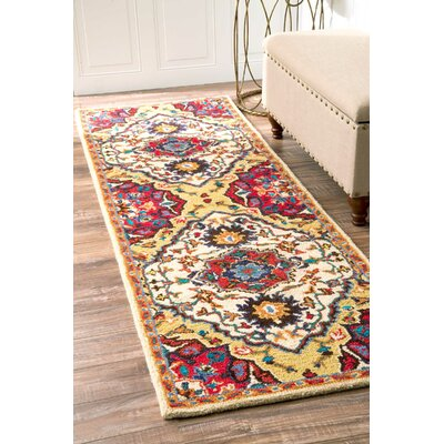 Sahab Hand-Tufted Red Area Rug Rug Size: Runner 26 x 8