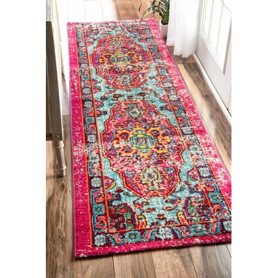 Loughlam Pink Area Rug Rug Size: Runner 26 x 8