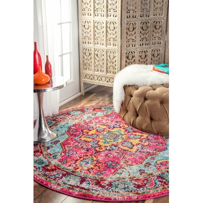 Aliyah Pink Area Rug Rug Size: Round 53