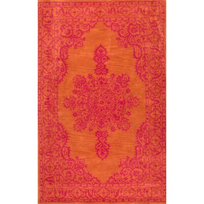Janice Orange Oriental Wool Hand-Tufted Area Rug