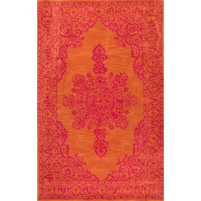 Laarous Hand-Tufted Orange Area Rug