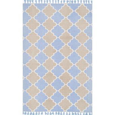 Sakar Hand-Woven Blue/Beige Area Rug Rug Size: 8 x 10