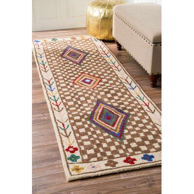 Farish Hand-Tufted Brown Area Rug Rug Size: Runner 26 x 8