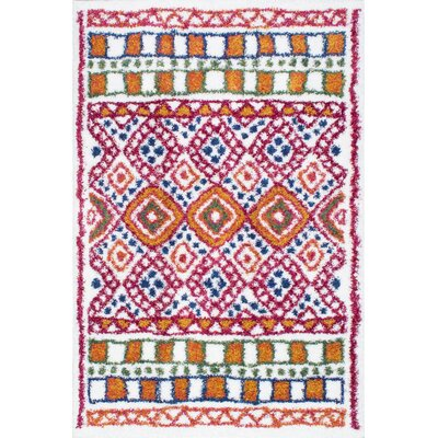 Karam Orange/Pink/Blue Area Rug Rug Size: 53 x 78