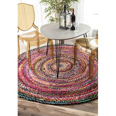 Khan Hand-Braided Multi Area Rug Rug Size: Round 8