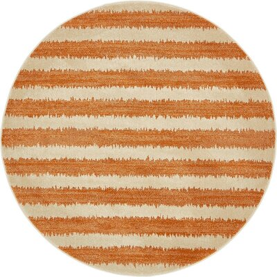 Randeep Orange/Beige Area Rug Rug Size: Round 6'