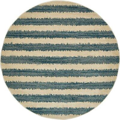 Randeep Blue/Beige Area Rug Rug Size: Round 6