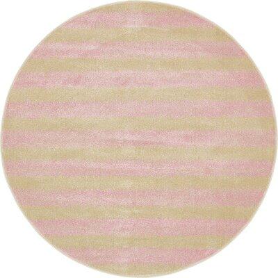 Randeep Pink/Green Area Rug Rug Size: Round 8