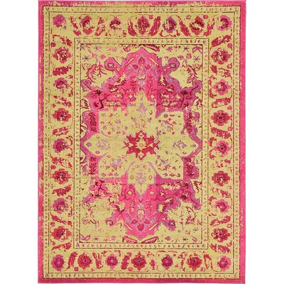 Iris Pink Area Rug Rug Size: 9 x 12