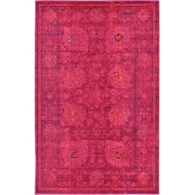 Iris Red Area Rug Rug Size: 5 x 8