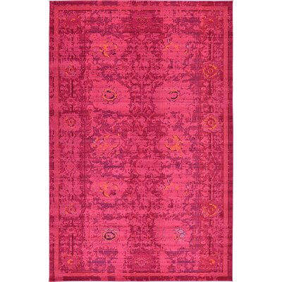 Iris Red Area Rug Rug Size: 106 x 165