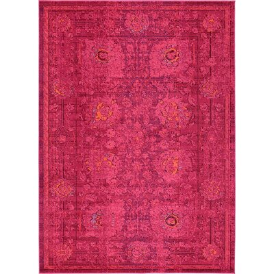 Iris Red Area Rug Rug Size: 7 x 10