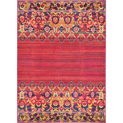 Iris Red Area Rug Rug Size: 8 x 11