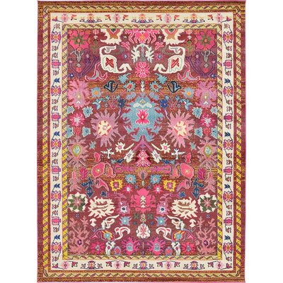 Iris Area Pink/Blue Rug Rug Size: 22 x 67