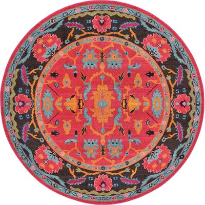 Nerbone Pink Area Rug Rug Size: Round 8