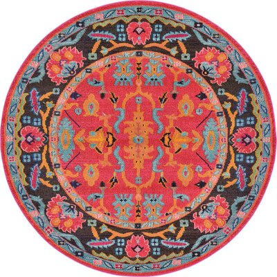 Nerbone Pink Area Rug Rug Size: Round 6