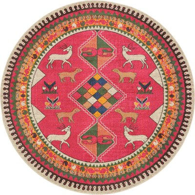 Rohini Pink Area Rug Rug Size: Round 8'