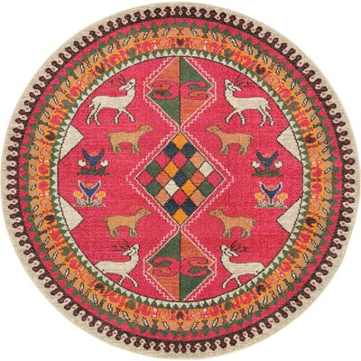 Rohini Pink Area Rug Rug Size: Round 6'