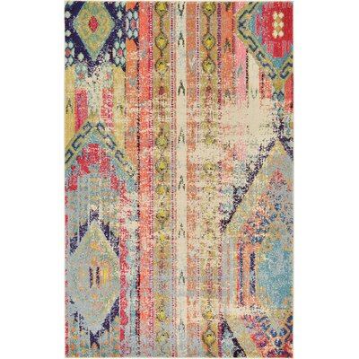 Newburyport Beige/Orange Area Rug Rug Size: Rectangle 5 x 8