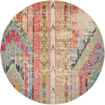 Rohini Multicolor Area Rug Rug Size: Round 6