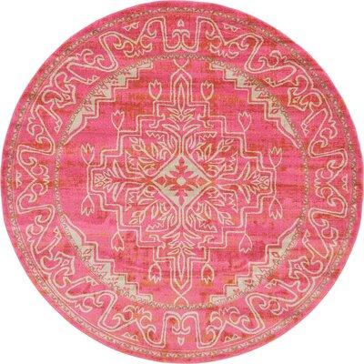 Cadencia Pink Area Rug Rug Size: Round 8
