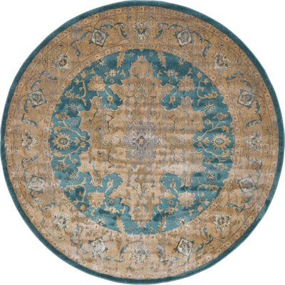 Sepe Teal Area Rug Rug Size: Round 8