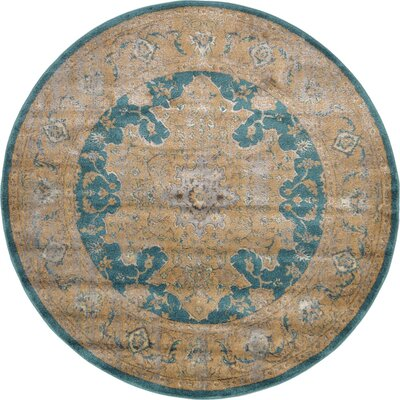Sepe Teal Area Rug Rug Size: Round 6