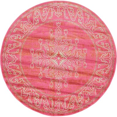 Stockholm Pink Area Rug Rug Size: Round 6' x 6'
