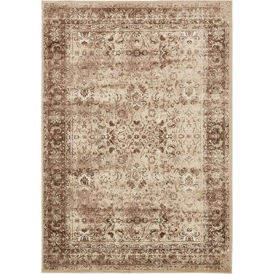 Yareli Brown/Cream Area Rug Rug Size: 7 x 10