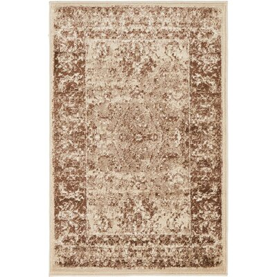 Yareli Brown/Cream Area Rug Rug Size: 2 x 6