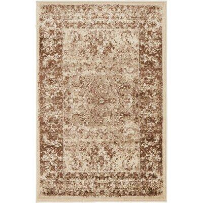Yareli Brown/Cream Area Rug Rug Size: 2 x 3