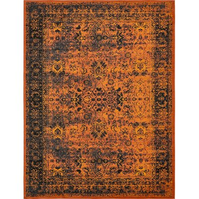 Yareli Terracotta/Black Area Rug Rug Size: 10 x 13