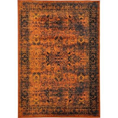 Yareli Terracotta/Black Area Rug Rug Size: 8 x 116