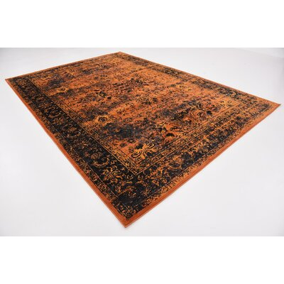 Yareli Terracotta/Black Area Rug Rug Size: Rectangle 8 x 116