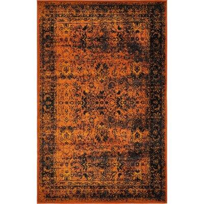 Yareli Terracotta/Black Area Rug Rug Size: 5' x 8'