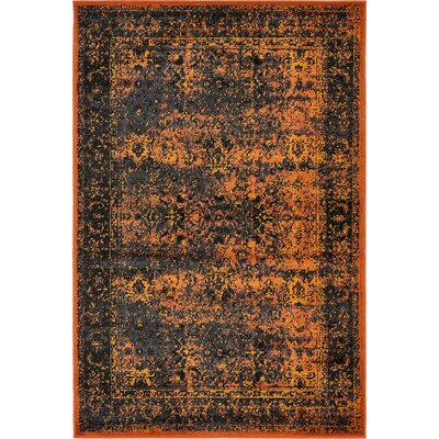 Yareli Terracotta/Black Area Rug Rug Size: 4 x 6