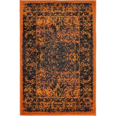Yareli Terracotta/Black Area Rug Rug Size: 2 x 6
