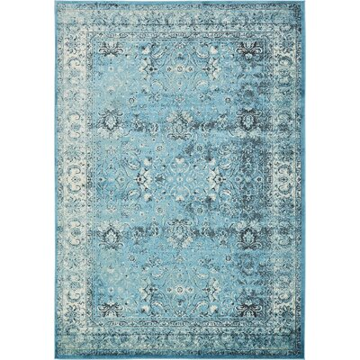 Yareli Blue/Ivory Area Rug Rug Size: 8' x 11'6