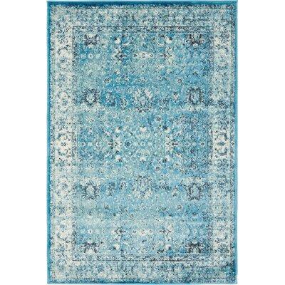 Yareli Blue/Ivory Area Rug Rug Size: 4' x 6'