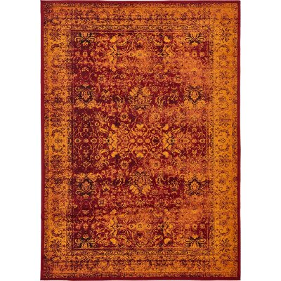 Yareli Red/Orange Area Rug Rug Size: 7 x 10