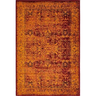 Yareli Red/Orange Area Rug Rug Size: 4 x 6