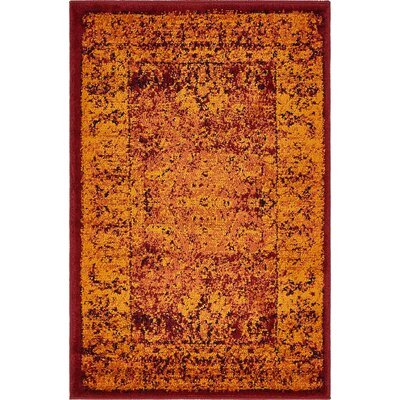 Yareli Red/Orange Area Rug Rug Size: 2 x 6