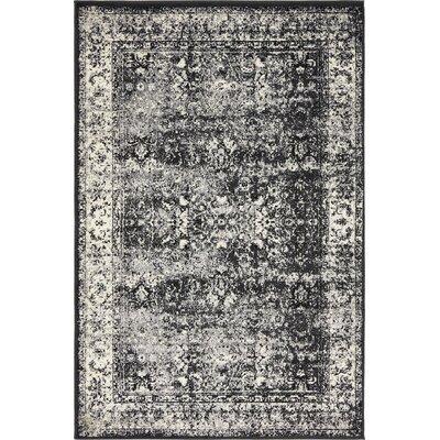Yareli Light Gray/Black Area Rug Rug Size: 4 x 6