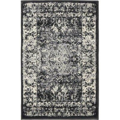 Yareli Light Gray/Black Area Rug Rug Size: 2 x 6